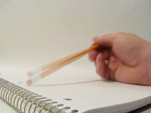 Taping a pencil by rennet Stowe on Flikr. https://www.flickr.com/photos/tomsaint/2987926396
