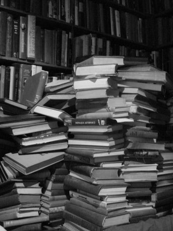 books in a stack (a stack of books). Evan Bench on Flikr. https://www.flickr.com/photos/austinevan/1225274637