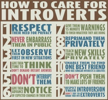 How to Care for introverts: Wise Words. Joe Wolf on Flikr. https://www.flickr.com/photos/joebehr/6887193850